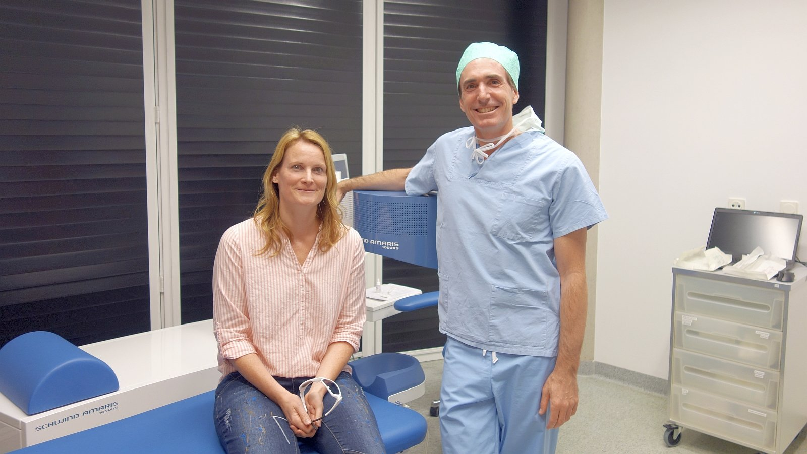 Client Nadine Dietrich with her attending physician Dr. de Ortueta