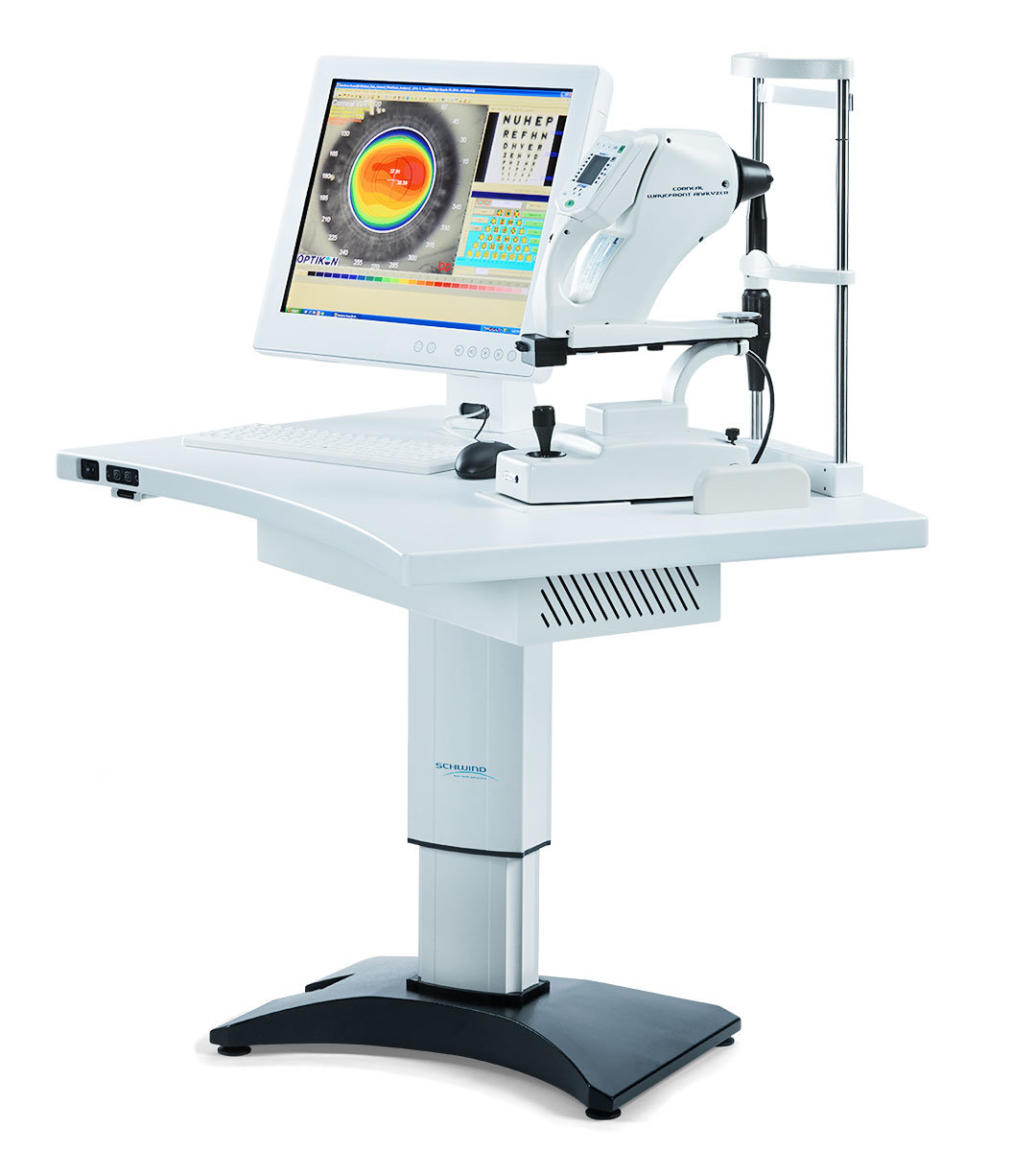 Diagnosis system Corneal Wavefront Analyzer infront of a white background