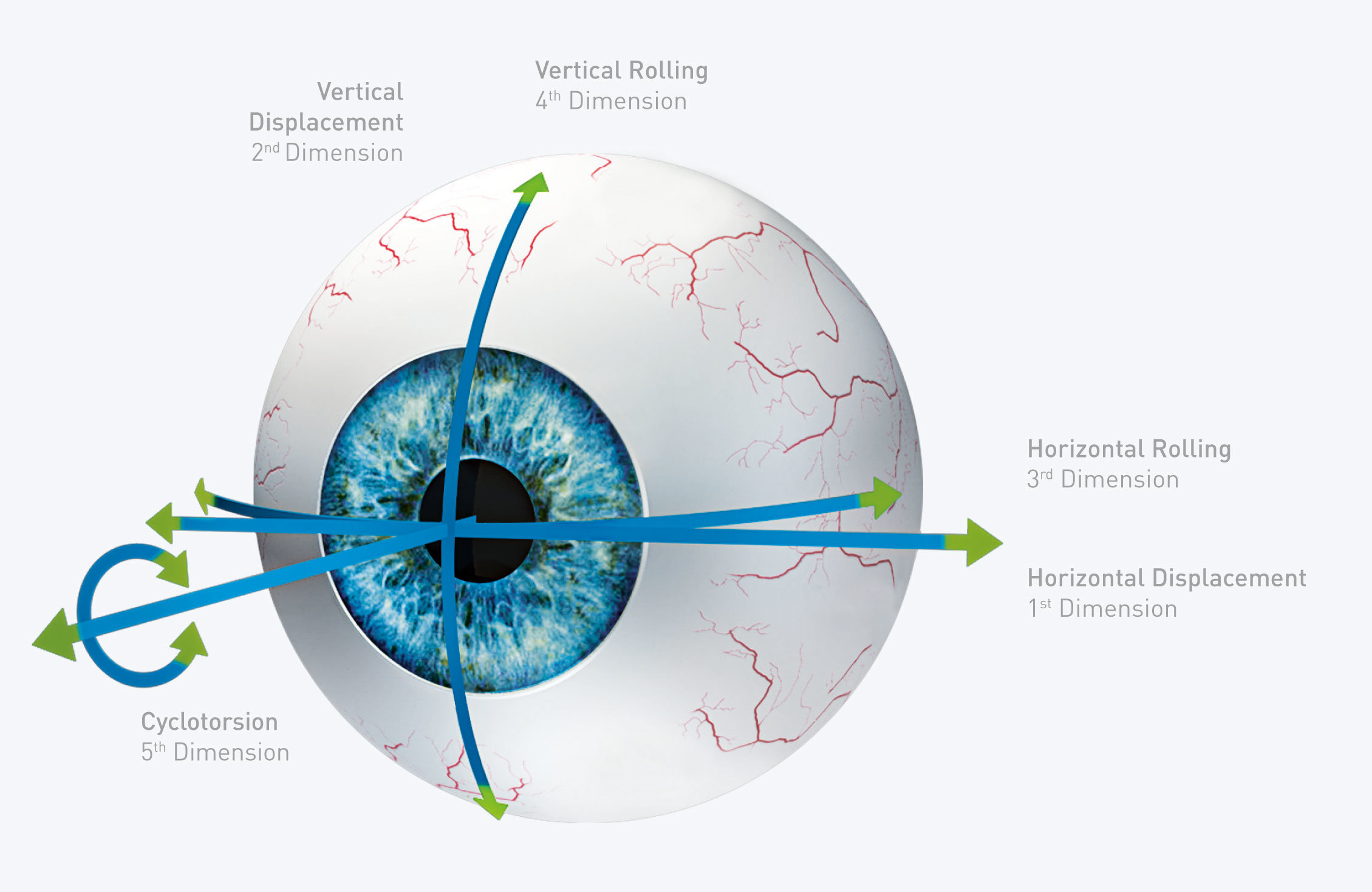 Eye-model with visualizing of the five dimensions